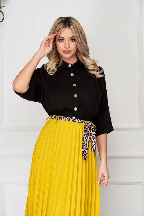 Camasa eleganta de dama SunShine neagra casual-eleganta cu elastic in talie