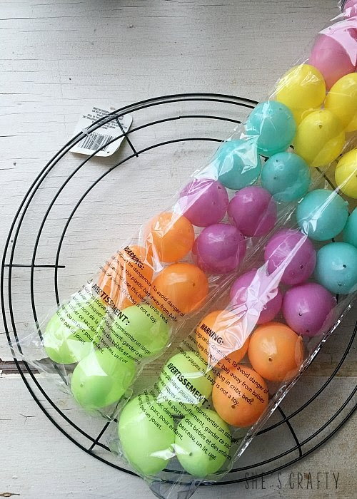 Pastel Easter Egg Wreath DIY - use plastic easter eggs to make a wreath