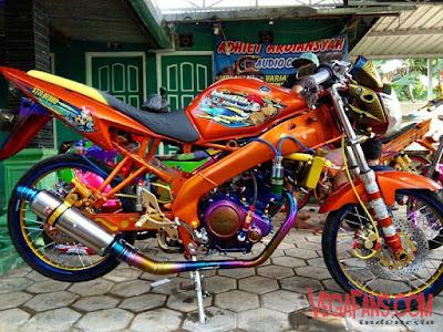 Foto Modifikasi Motor Vixion Thailook Orange