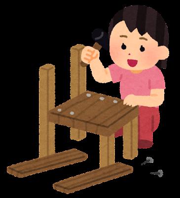 木工工作をする人のイラスト(女性)