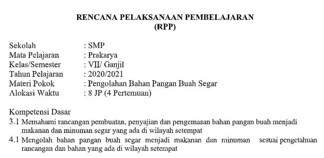 Rpp Daring Prakarya Kelas 7 Semester Ganjil Kurikulum 2013 Tahun Pelajaran 2020 2021 Didno76 Com