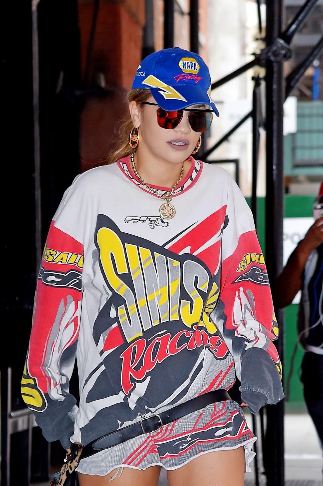HQ Photos of Rita Ora in mini dress Leaves Her Hotel in New York