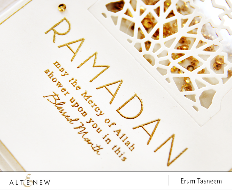 Altenew Ramdan Greetingd stamp set + Mosaic Dome die set, card by Erum Tasneem - @pr0digy0