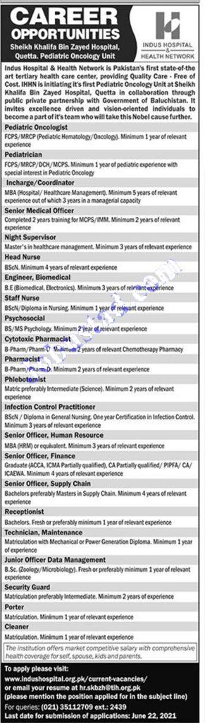 Indus Hospital Jobs 2021 – Apply Online