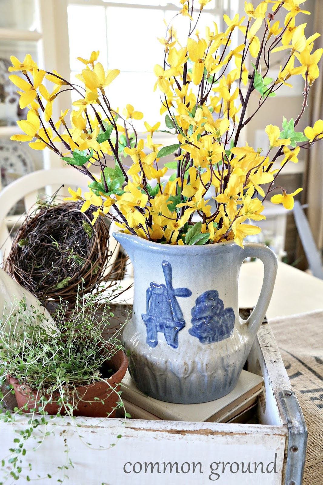 Common Ground Welcoming Spring With An Antique Crockery Pitcher