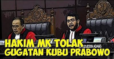 MK Tolak Permohonan Prabowo-Sandi