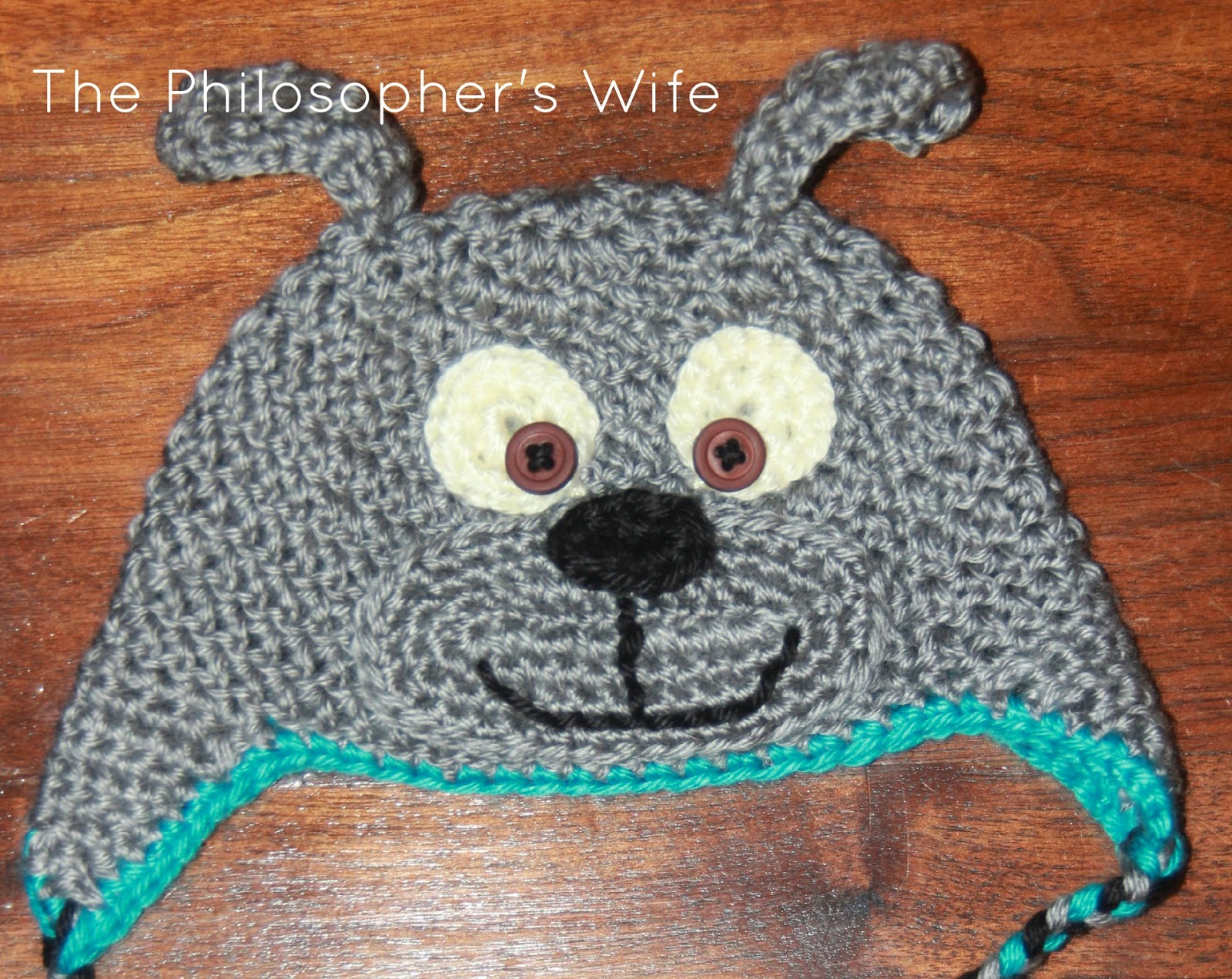 c2825c9c695 Sarah s Puppy Hat Pattern was my inspiration. My crocheting seems to be  tighter than hers