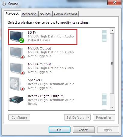 LG TV Default Speaker