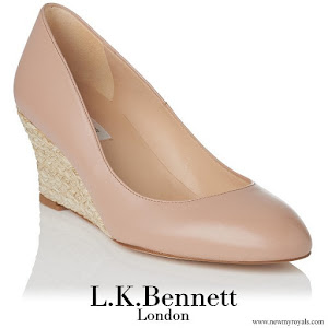 Princess Stephanie wore LK Bennett Eevi Nude Leather Espadrille Wedges