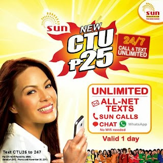 Sun free Chat on CTU25 using WhatsApp and All Net Text Promo
