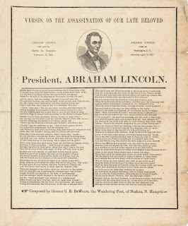 "A printed page of ""Verses on the Assassination of our Late Beloved President, Abraham Lincoln."""