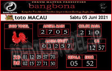 Prediksi Bangbona Toto Macau Sabtu 05 Juni 2021