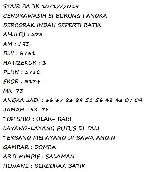 code syair batik jitu 2d