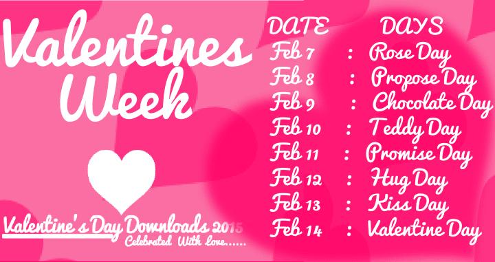 Happy Valentine Datesheet Week List   Valentine Date