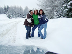 Mom & girls in a snow storm somewhere in New England