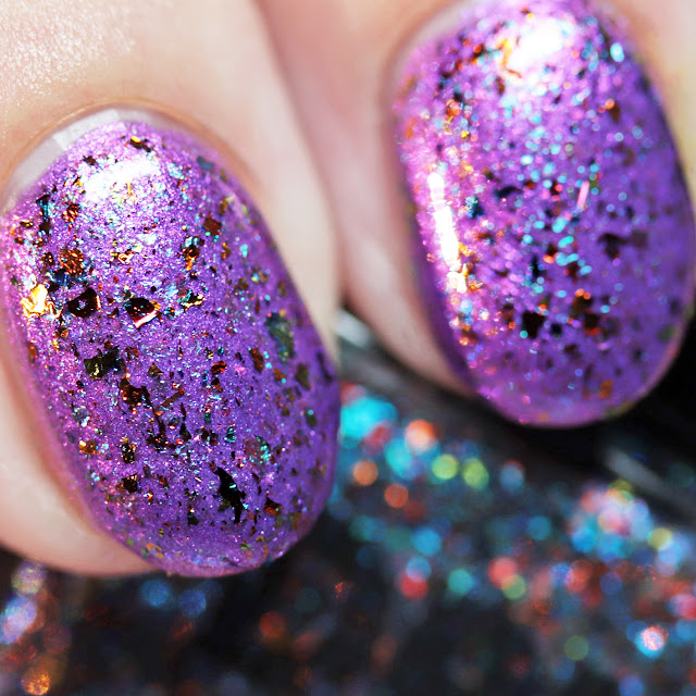 DRK Nails W. T. Funny! over Geekish Glitter Lacquer End of the World