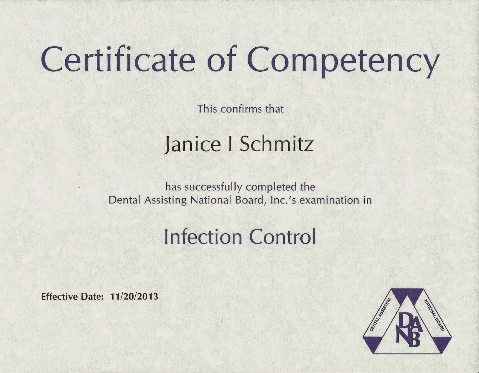 Janice schmitz rdh bs msdh professional portfolio for Competency certificate template