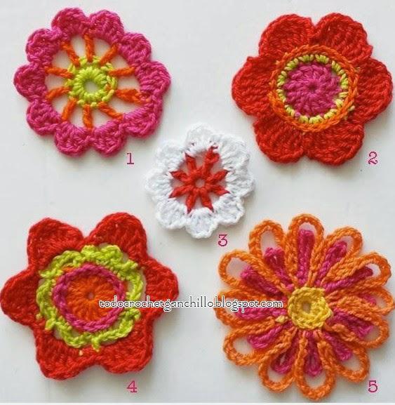 5 esquemas de flores ganchillo