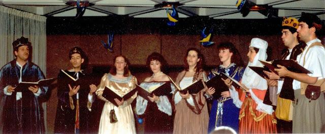 Stairwell Carollers in Renaissance garb circa 1987