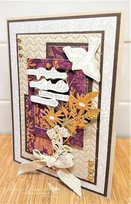 Rhapsody in craft, Crumb Cake, #colourcreationsbloghop, Blackberry Beauty, Beauty of Tomorrow, Friendship cards, July-December Mini Catalogue 2021, Stampin up! Blackberry Beauty Ephemera pack, Blackberry Beauty Suite, Greenery Embossing Folder, Tidings of Christmas DSP