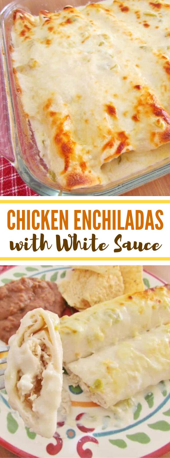 EASY CREAMY WHITE CHICKEN ENCHILADAS #dinner #mozzarella