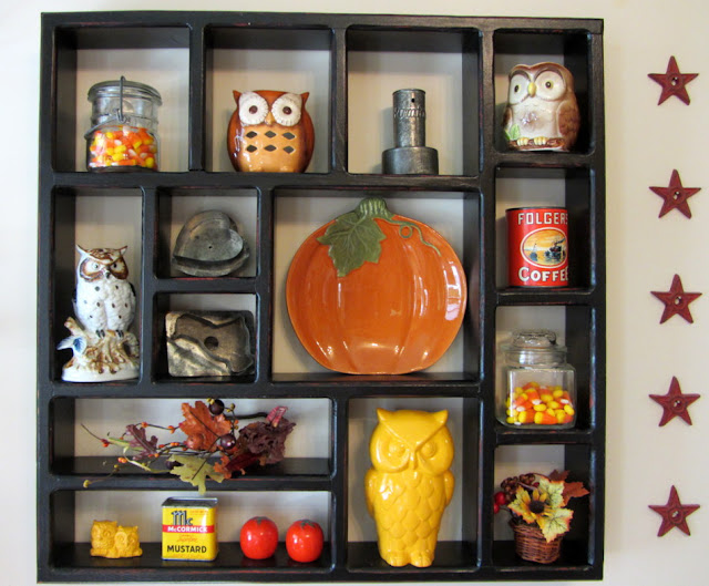 Fall Pumpkins and Owl Shadow Box