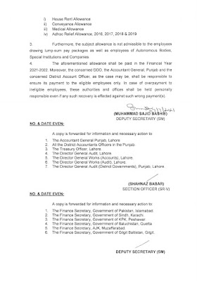 GRANT OF SPECIAL ALLOWANCE 2021 @ 25% TO THE EMPLOYEES OF THE GOVERNMENT OF PUNJAB