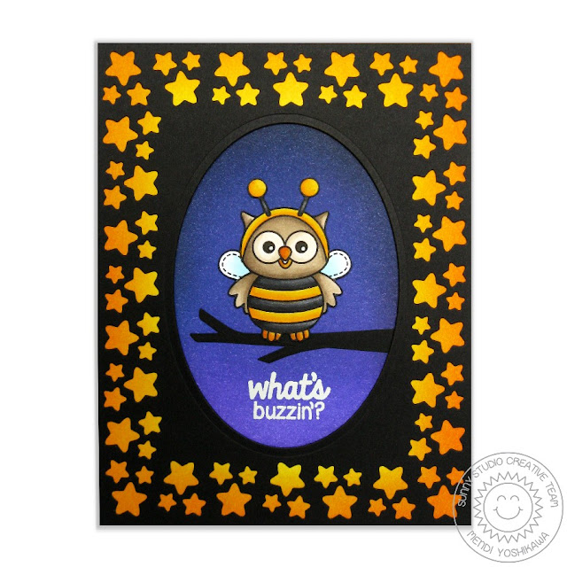 Sunny Studio Stamps: Happy Owl-o-ween What's Buzzin' Owl in Bumblebee costume card by Mendi Yoshikawa
