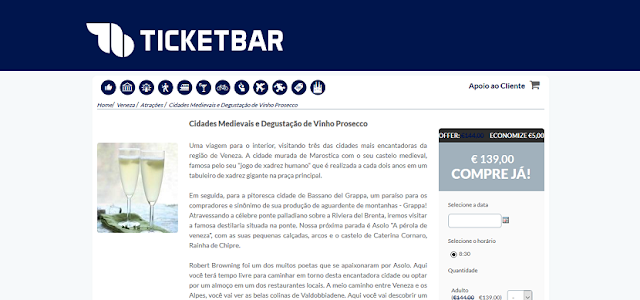 Ticketbar para ingressos em Veneza e na Itália