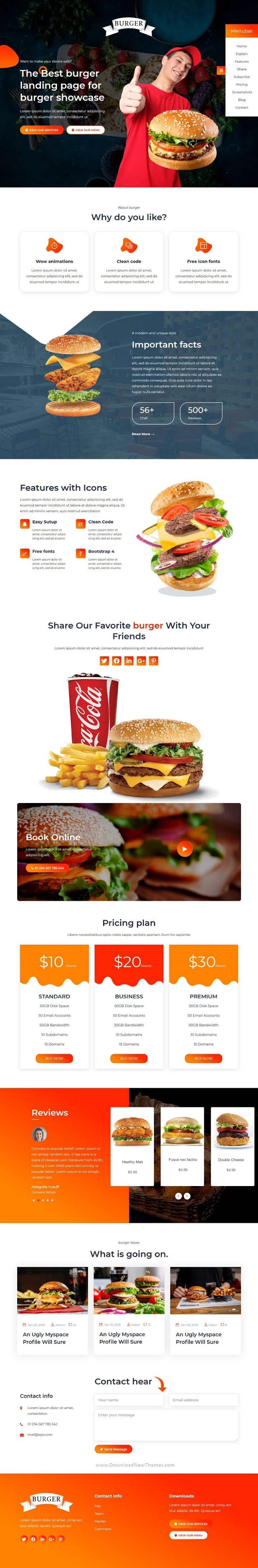 Restaurant food HTML Landing Page Template