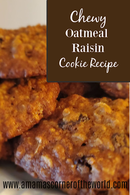 Pinnable image for a chewy oatmeal raisin cookie recipe