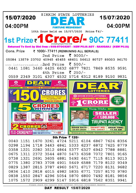 Sikkim State Lotteries 15-07-2020 Lottery Sambad Result 04:00 PM