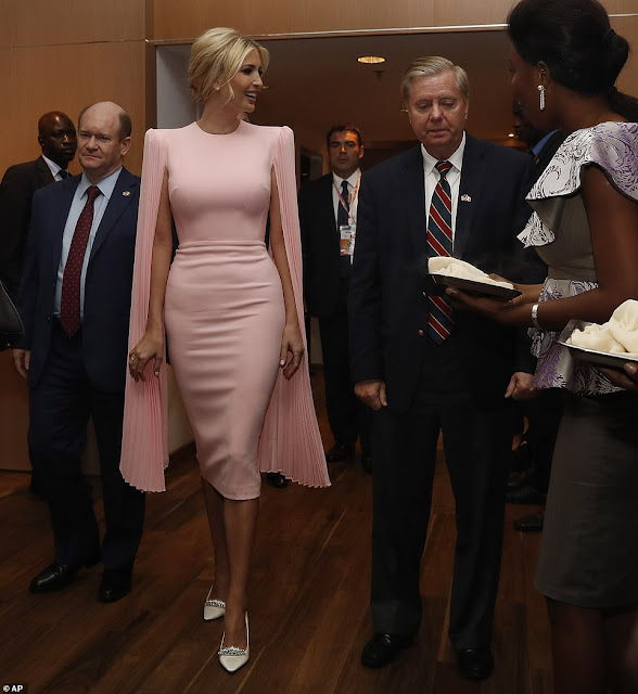 Ivanka Trump goes for glam at a state dinner in Africa in a chic $1,500 sheath dress