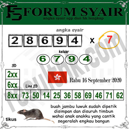 Forum Syair HK Rabu 16 September 2020