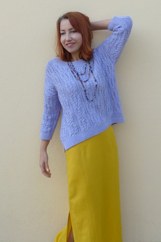Lilac cotton sweater and yellow skirt