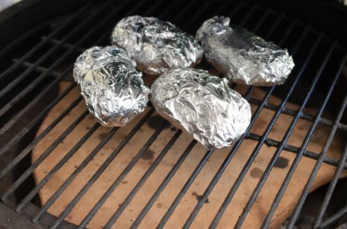 Baking potatoes on a Big Green Egg kamado grill.