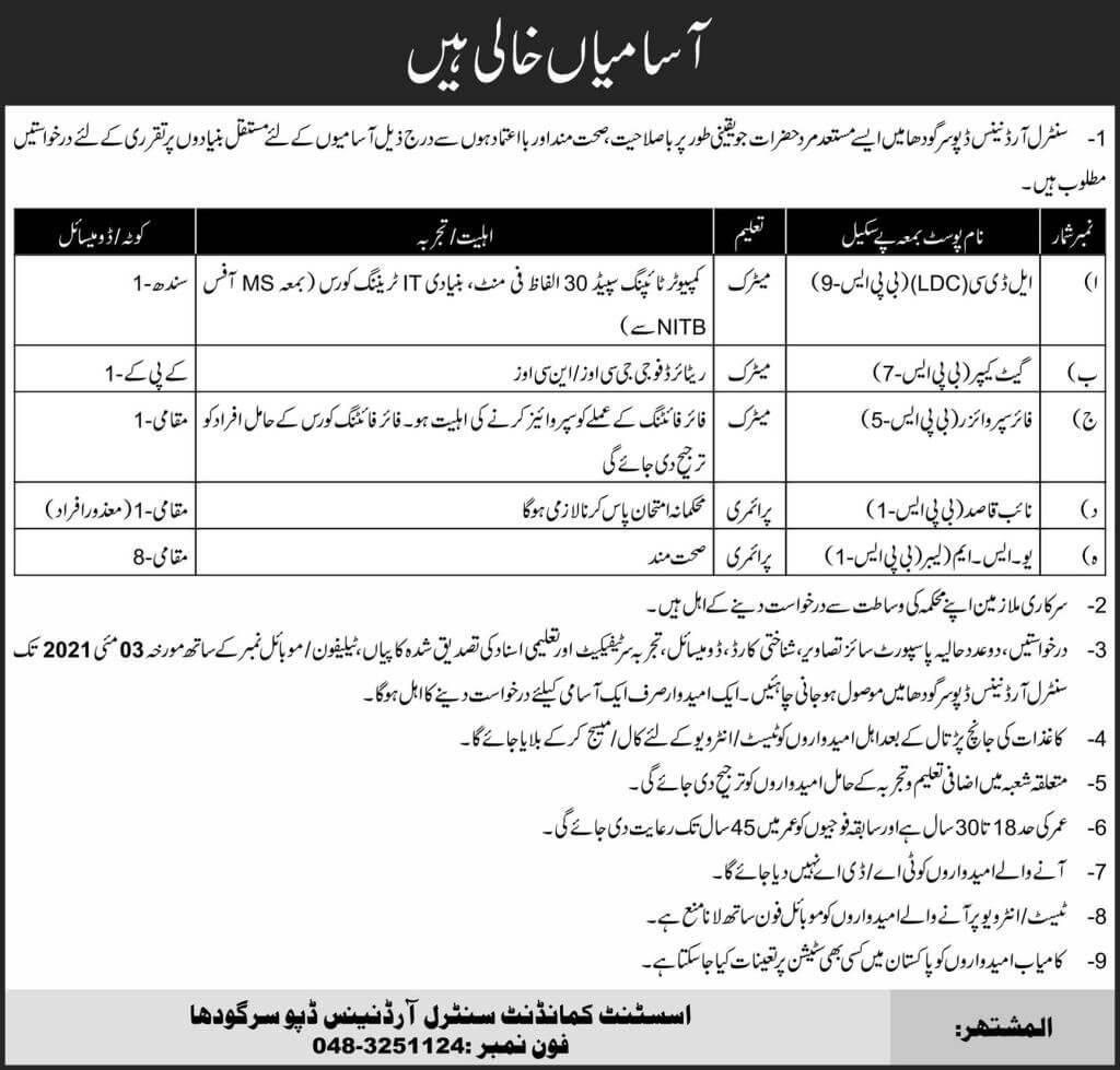 Pakistan Army Central Ordnance Depot COD Sargodha Jobs 2021