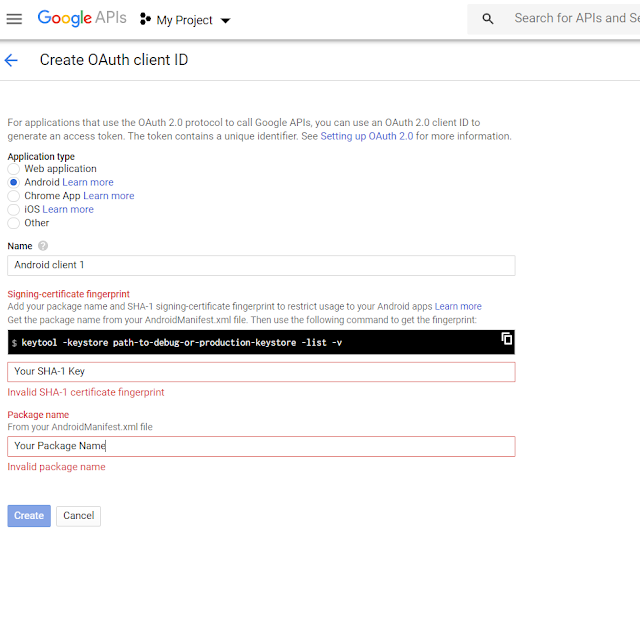 Create an OAuth client in Google Api Console