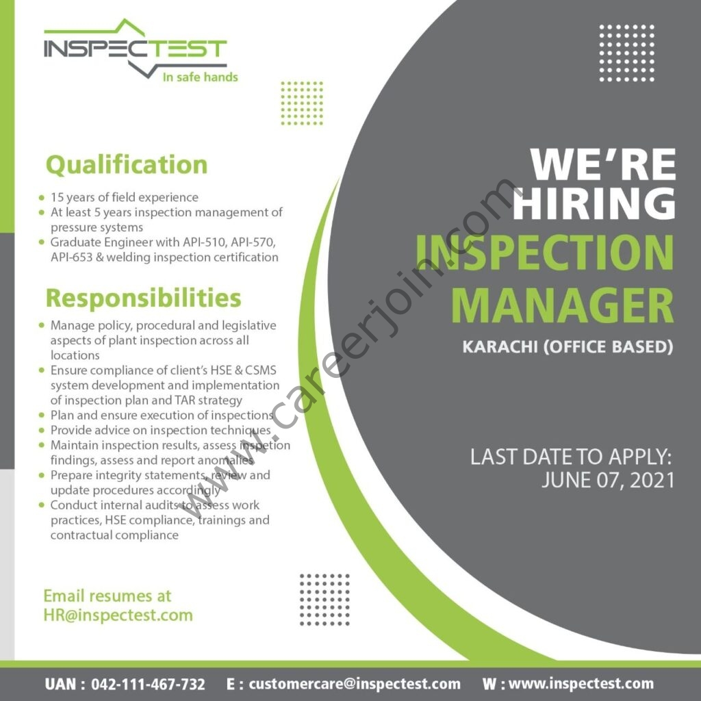 InspecTest Pvt Ltd Jobs 2021 in Pakistan