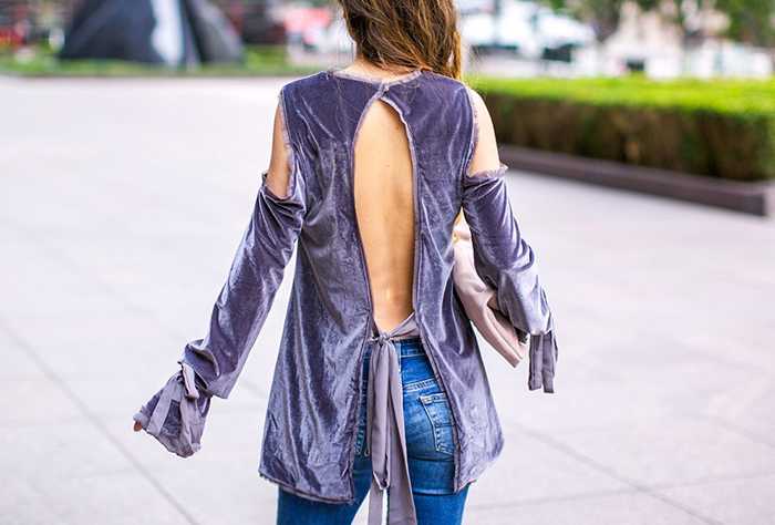 STYLEKEEPERS From Dawn To Dusk Top, velvet open back top, tie cuff top, ag jeans, sole society Maron Foldover Suede Clutch, karen walker super duper sunglasses, aquazzura amazon pumps, lace up pumps, san francisco street style, san francisco fashion blog, spring outfit ideas
