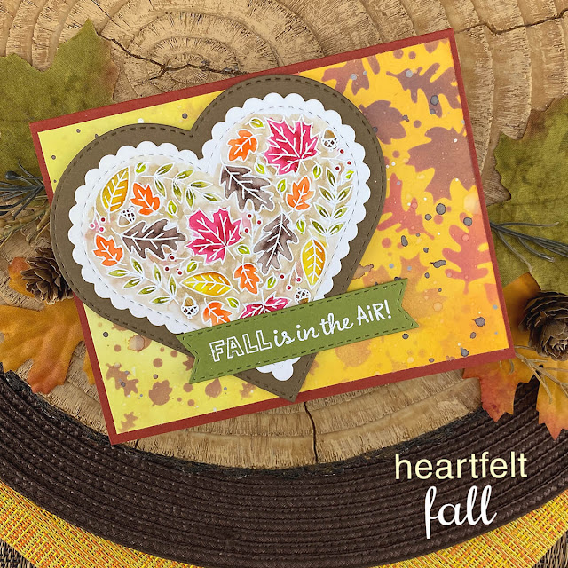 Fall is in the Air! Fall leaves heart card by Jennifer Jackson | Heartfelt Fall Stamp Set, Falling Leaves Stencil, Heart Frames Die Set and Banner Trio Die Set by Newton's Nook Designs #newtonsnook