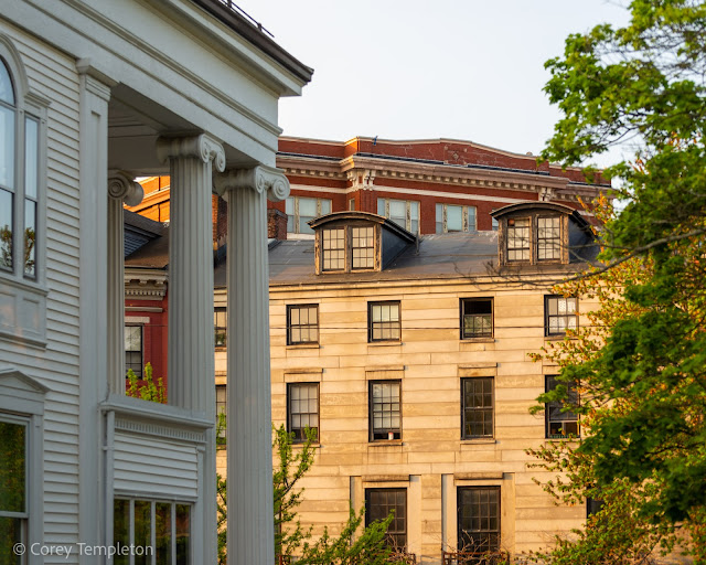 Portland, Maine USA Photo by Corey Templeton. Afternoon light on the buildings near Longfellow Square.