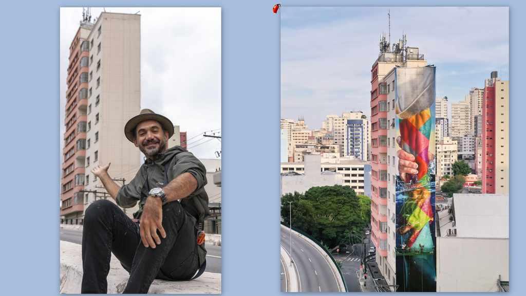 Eduardo Kobra - O conhecido muralista fez seu primeiro mural na região do Minhocão, em São paulo. De acordo com o artista, é a mais autobiográfica de todas as suas obras.