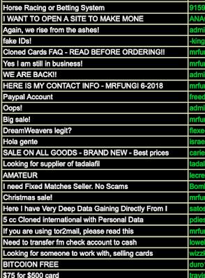 Una schermata del dark web non visibile in chiaro, che mostra un marketplace per comprare account PayPal pre-caricati