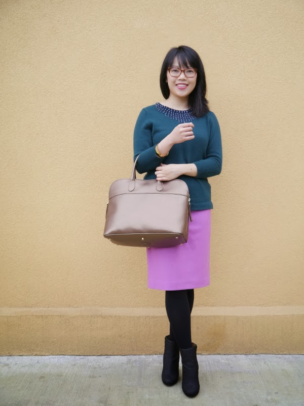 J. Crew green sweater with embellished neckline, orchid wook pencil skirt, gold bangle; Beausoleil tortoiseshell glasses; Maison Martin Margiela texturized rubber booties in black; Roots 'Shirley' bag in gold saffiano leather