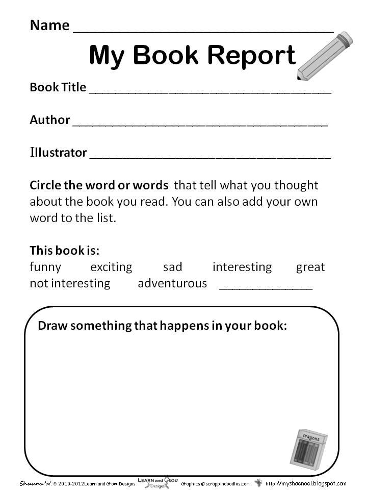 Free Worksheets Kindergarten Book Report Template Free  Book Report Template Free