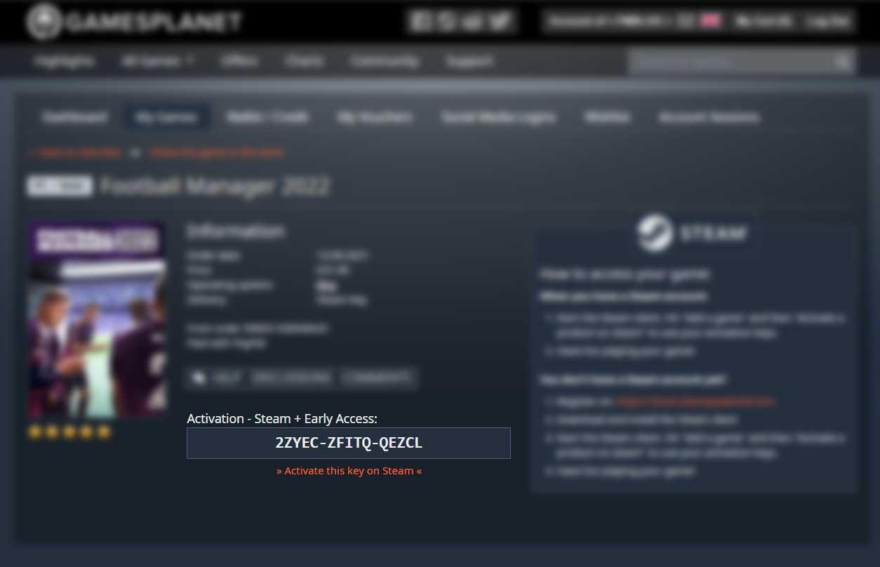 FM22 Steam Key Code