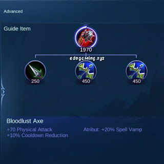 penjelasan lengkap item mobile legends item bloodlust axe