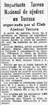 Recorte de El Mundo Deportivo sobre el I Gran Torneo de Ajedrez de Terrassa 1945