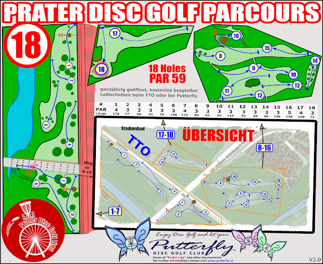 Putterfly Parcoursplan Disc Golf Prater V3.0 - 18 Holes ab 10-2018